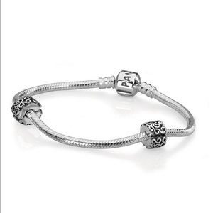 "Pandora Sterling Silver Bracelet with 2 ""S"" Clips"